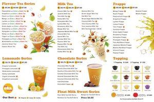 menu trà sữa